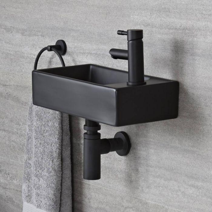Lavabo Suspendido Moderno Rectangular Negro Monoforo de 400mm x 220mm - Nox