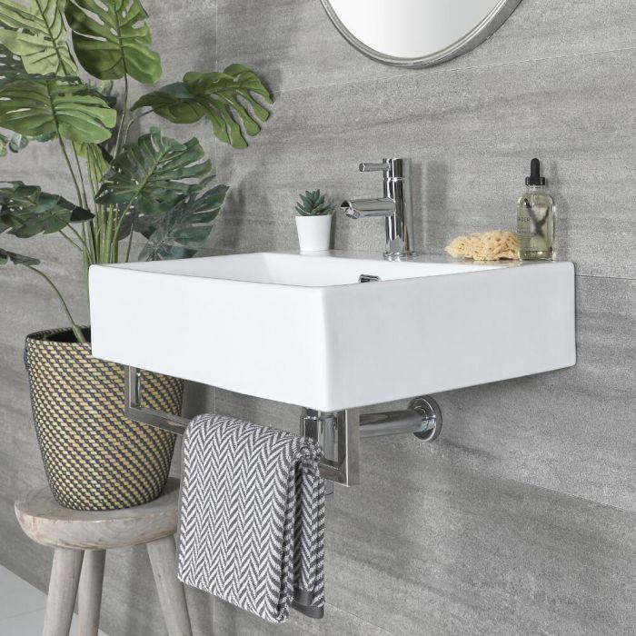 Lavabo Suspendido Moderno Rectangular Blanco 600mm x 420mm con Barra Porta Toallas Cromada- Sandford