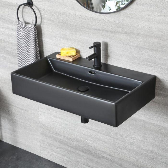 Lavabo Suspendido Moderno Rectangular Color Negro de 750mm x 420mm de 1 Agujero - Nox