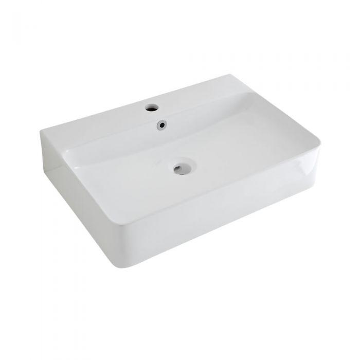 Lavabo Sobre Encimera Suspendido Rectangular de Cerámica 600x310mm con Grifo Mezclador de Lavabo Monoforo - Exton