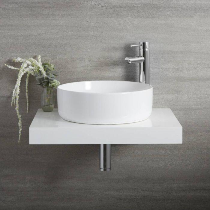 Lavabo Sobre Encimera Redondo Moderno Blanco 395mm x 395mm sin Agujeros para la Grifería - Sphere