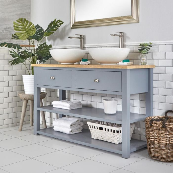 Mueble para Lavabo Tradicional de 1240mm Color Gris Claro - Stratford
