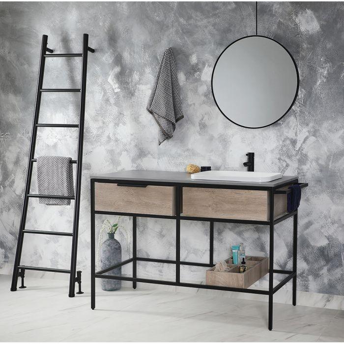Mueble de Lavabo de 1200mm Negro y Roble Claro - Nox Stamford