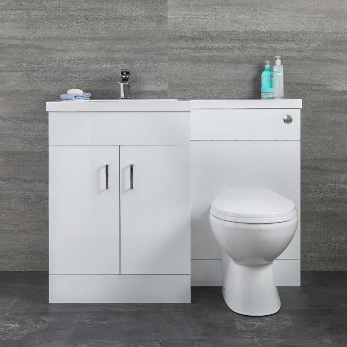 Mueble de Lavabo Blanco de Suelo Completo con Mueble Inodoro Versión Izquierda  – Geo