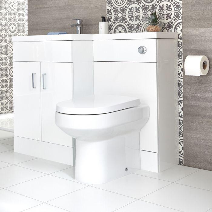 Conjunto de Baño Moderno Color Blanco Completo con Mueble de Lavabo en Versión Izquierda, Inodoro Integrado y Cisterna - Geo