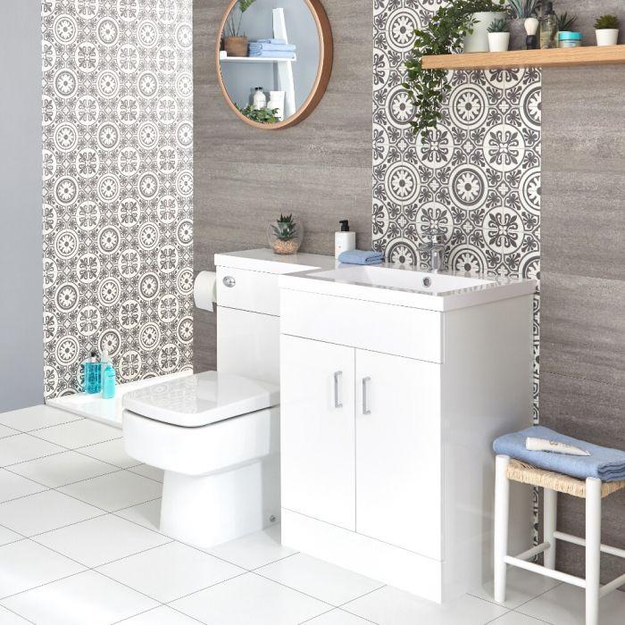 Conjunto de Baño Moderno Color Blanco Completo con Mueble de Lavabo en Versión Derecha e Inodoro Integrado de 500x890mm - Geo