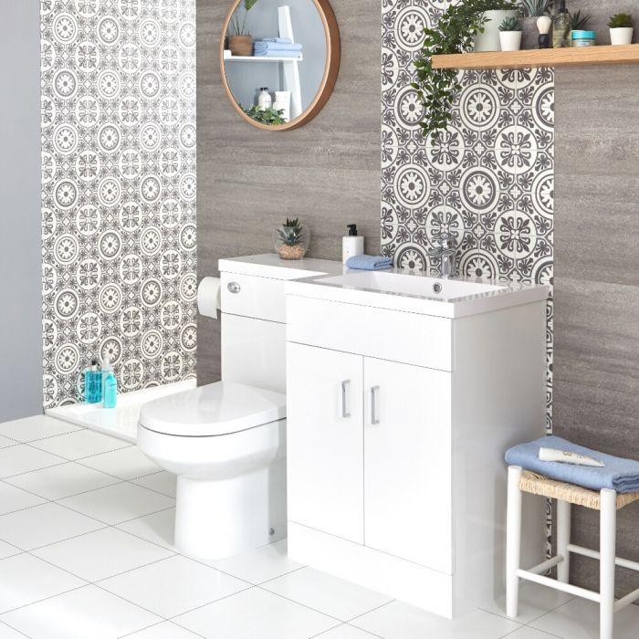 Conjunto de Baño Moderno Color Blanco Completo con Mueble de Lavabo en Versión Derecha, Inodoro Integrado y Cisterna - Geo