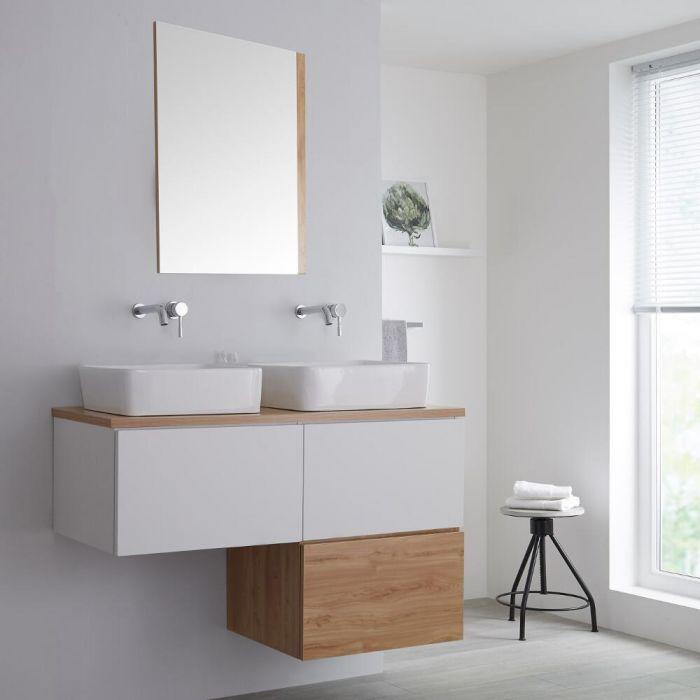 Mueble Base Mural para Lavabo de Sobre Encimera de Color Blanco Opaco en Forma de L de 1200mm con Encimera - Color Blanco y Roble Dorado con Opción LED y Lavabos Rectangulares – Newington