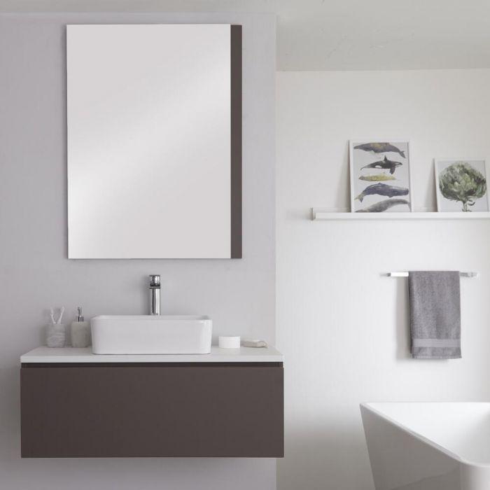 Mueble Base Mural de 1000mm Color Gris Opaco para Lavabo de Sobre Encimera con Encimera de Color Blanco y Opción LED con Lavabo Rectangular – Newington