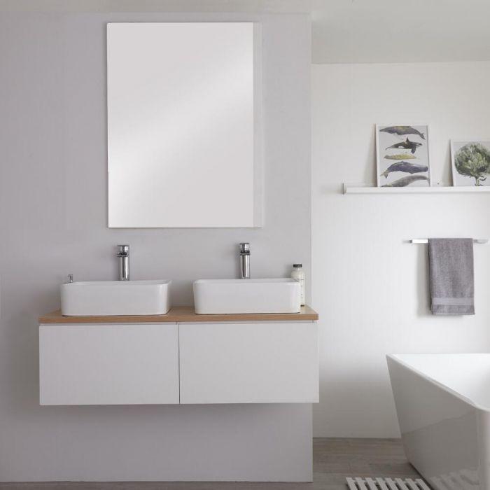 Mueble Base Mural de 1200mm Color Blanco Opaco para Lavabo de Sobre Encimera con Encimera de Color Roble Dorado y Opción LED con 2 Lavabos Rectangulares – Newington