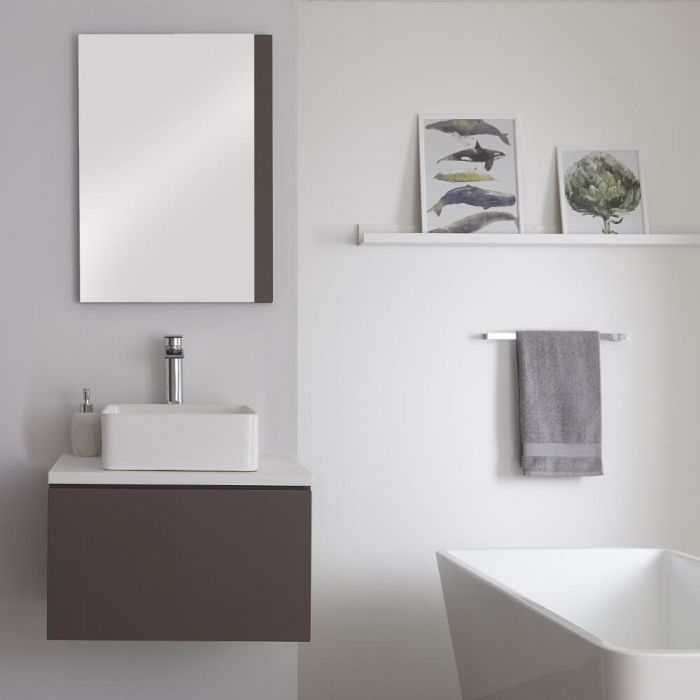 Mueble Base Mural de 600mm Color Gris Opaco con Lavabo de Sobre Encimera con Encimera de Color Blanco y Opción LED – Newington