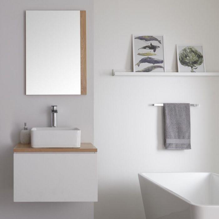 Mueble Base Mural de 600mm Color Blanco Opaco con Lavabo de Sobre Encimera, Encimera de Color Roble y Opción LED - Newington