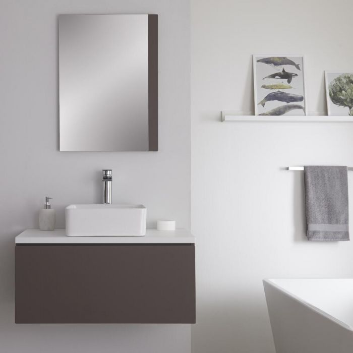 Mueble Base Mural de 800mm Color Gris Opaco para Lavabo de Sobre Encimera con Encimera de Color Blanco, Lavabo Rectangular y Opción LED – Newington