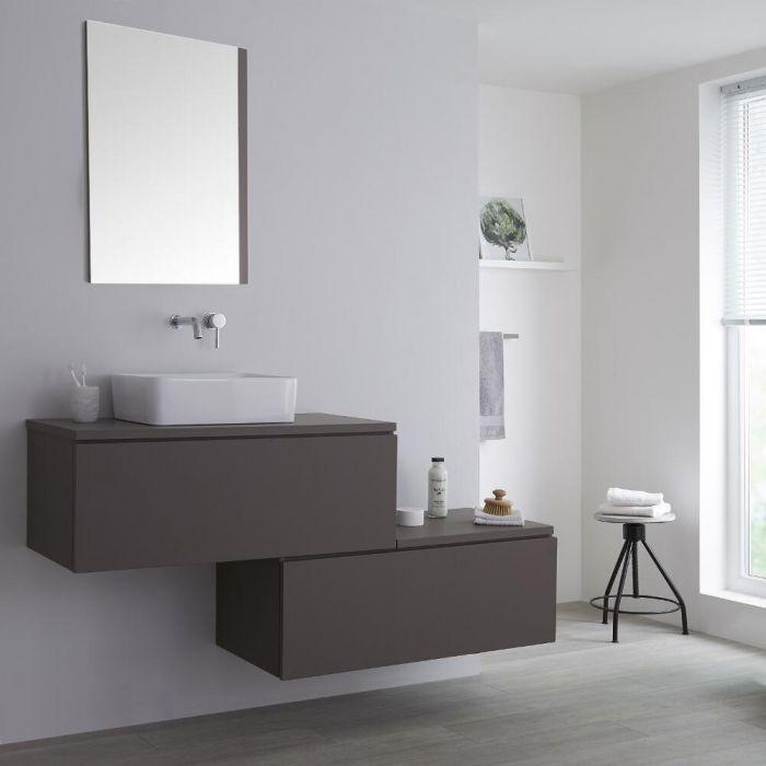 Mueble Base Mural Completo con Lavabo de Sobre Encimera con Diseño Escalonado de 1600mm con Opción LED - Color Gris Opaco y Lavabo Rectangular – Newington