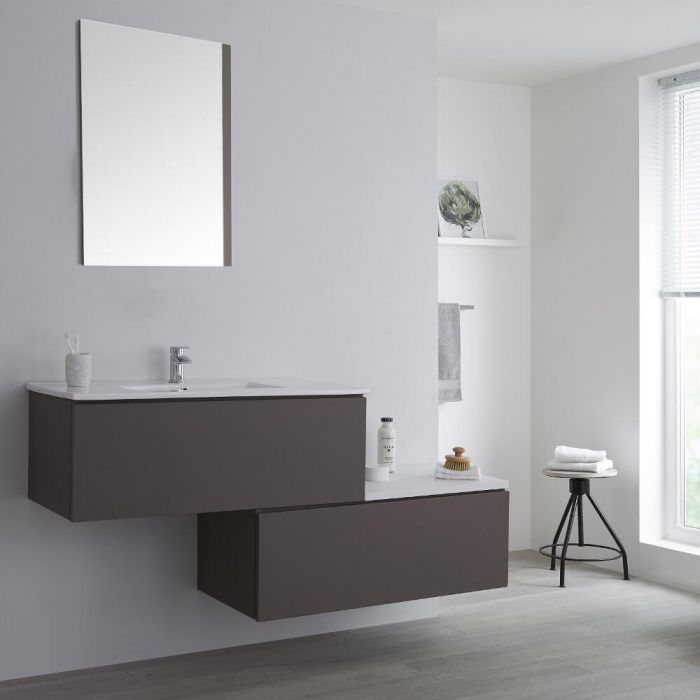 Mueble Base Mural Completo con Lavabo de Sobre Encimera de Color Gris Opaco con Diseño Escalonado de 1600mm con Opción LED - Newington