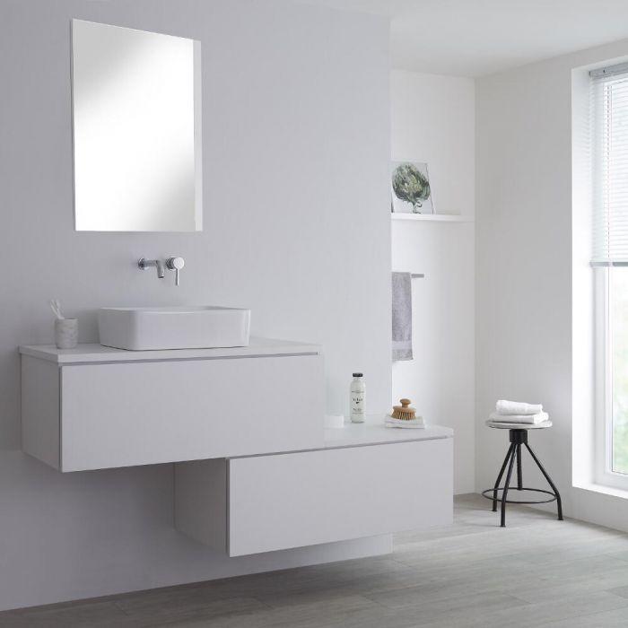 Mueble Base Mural para Lavabo de Sobre Encimera de Color Blanco Opaco con Diseño Escalonado de 1600mm con Opción LED con Lavabo Rectangular  – Newington