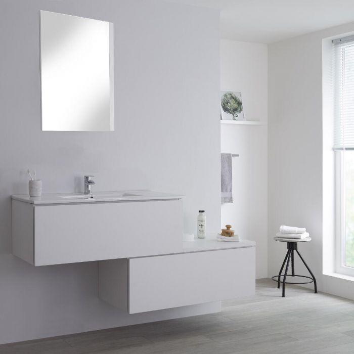 Mueble Base Mural Completo con Lavabo de Sobre Encimera de Color Blanco Opaco con Diseño Escalonado de 1600mm con Opción LED - Newington