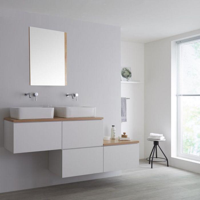 Mueble Base Mural para Lavabo de Sobre Encimera de Color Blanco Opaco y Encimera de Color Roble Dorado con Diseño Escalonado de 1800mm con Opción LED y 2 Lavabos Rectangulares – Newington