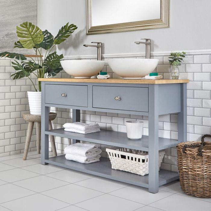 Mueble de Lavabo Compacto Tradicional de 1240 mm Color Gris Claro con Encimeras y Dos Lavabos Sobre Encimera Redondos – Stratford