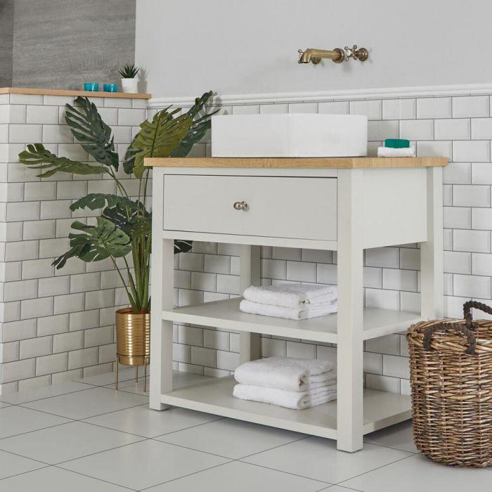 Mueble de Lavabo Compacto Tradicional de 840mm Color Blanco Antiguo con Encimera y Lavabo Sobre Encimera Cuadrado de 360x360mm – Stratford