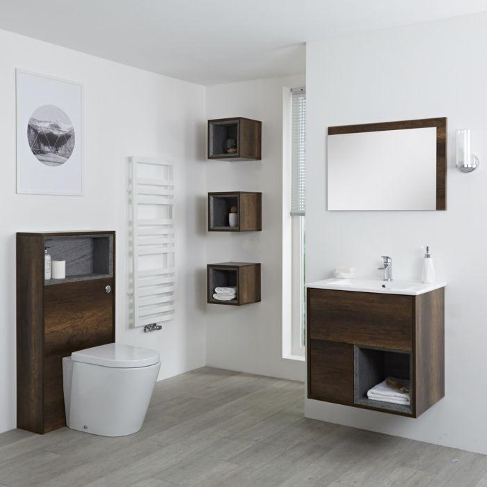 Conjunto de Baño con Diseño Abierto de Color Roble Oscuro Completo con Mueble Para Lavabo de 600mm, Mueble de Pared, Espejo, Lavabo, WC y Cisterna - Hoxton