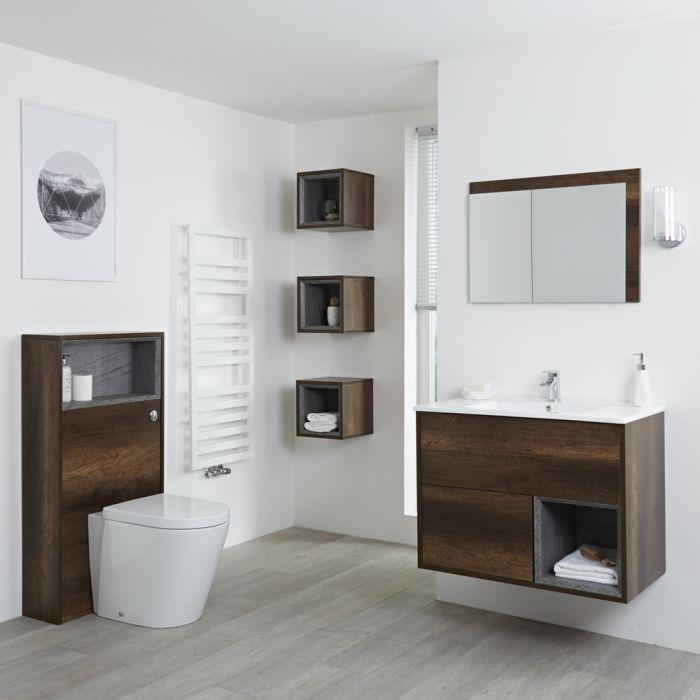 Conjunto de Baño con Diseño Abierto de Color Roble Oscuro Completo con Mueble Para Lavabo de 800mm, Mueble de Pared, Espejo, Lavabo, WC y Cisterna - Hoxton