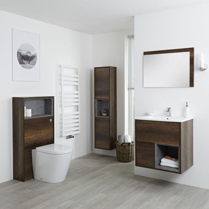 Conjunto de Baño con Diseño Abierto de Color Roble Oscuro Completo con Mueble Para Lavabo de 600mm, Mueble de Pared de 1500mm, Mueble de WC, Espejo, Lavabo, WC y Cisterna - Hoxton