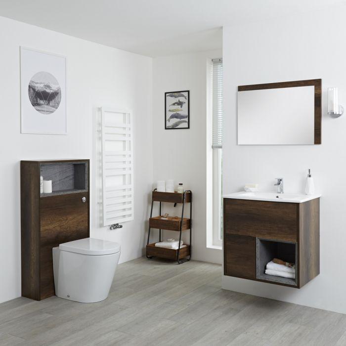 Conjunto de Baño con Diseño Abierto de Color Roble Oscuro Completo con Mueble Para Lavabo de 600mm, Lavabo, WC y Cisterna - Hoxton