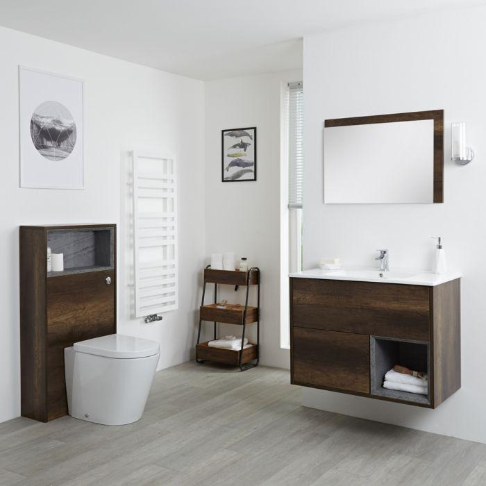 Conjunto de Baño?? con Diseño Abierto de Color Roble Oscuro Completo con Mueble Para Lavabo de 800mm, Lavabo, WC y Cisterna - Hoxton