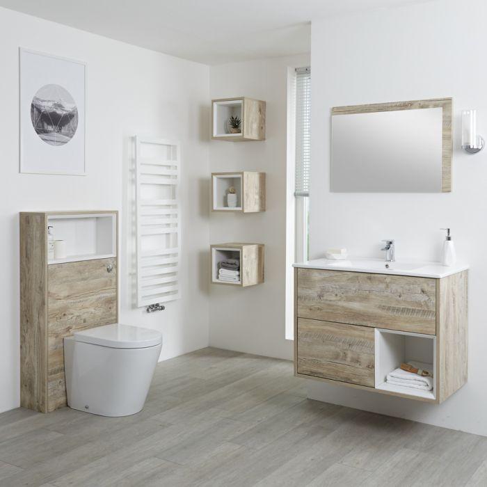 Conjunto de Baño con Diseño Abierto de Color Roble Claro Completo con Mueble Para Lavabo de 800mm, Mueble de Pared, Espejo, Lavabo, WC y Cisterna - Hoxton