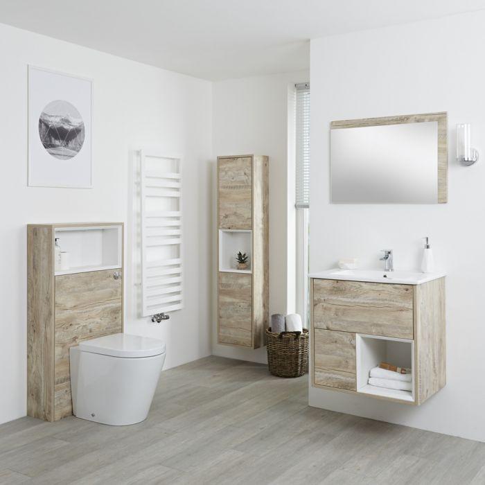 Conjunto de Baño con Diseño Abierto de Color Roble Claro Completo con Mueble Para Lavabo de 600mm, Mueble de Pared de 1500mm, Mueble de WC, Espejo, Lavabo, WC y Cisterna - Hoxton