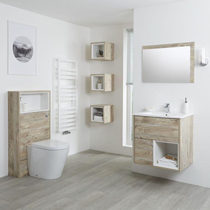 Conjunto de Baño con Diseño Abierto de Color Roble Claro Completo con Mueble Para Lavabo de 600mm, Lavabo, WC y Cisterna - Hoxton