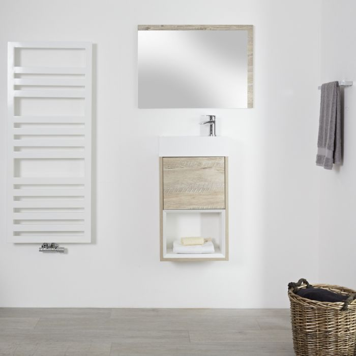 Mueble de Lavabo con Diseño Abierto de Color Roble Claro Completo con Lavabo – Hoxton