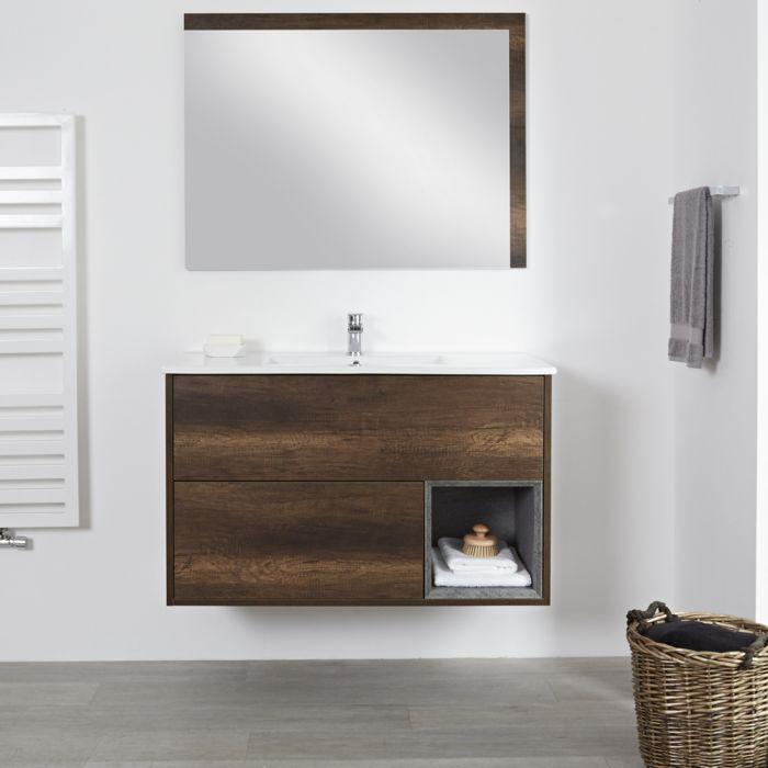 Mueble de Lavabo Mural de 1000mm Color Roble Oscuro con Diseño Abierto con Lavabo - Hoxton