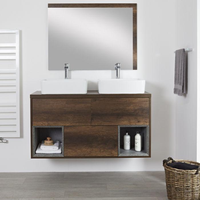 Mueble de Lavabo Mural de 1200mm Color Roble Oscuro con Diseño Abierto con Lavabo de Sobre Encimera Rectangular- Hoxton