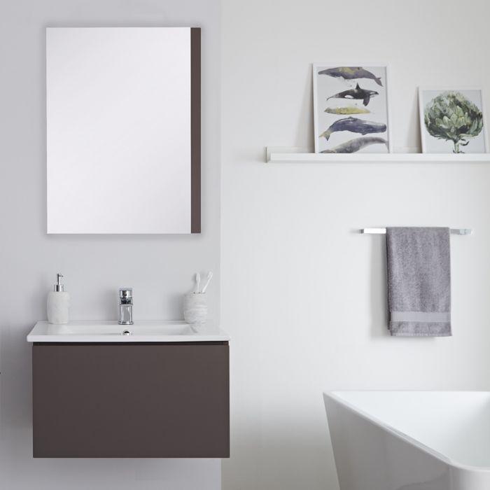Mueble de Lavabo Mural Moderno de 600mm Color Gris Opaco con Lavabo Integrado para Baño Disponible con Opción LED - Newington