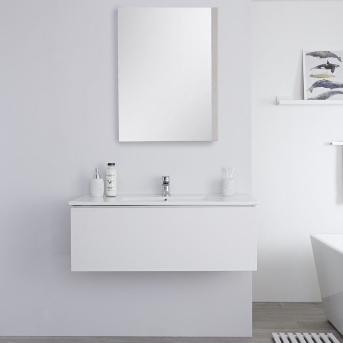 Mueble de Lavabo Mural Moderno de 1000mm Color Blanco Opaco con Lavabo Integrado para Baño Disponible con Opción LED  - Newington
