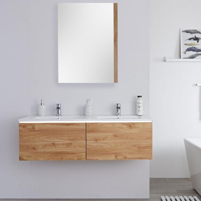 Mueble de Lavabo Mural Moderno de 1200mm Color Roble Dorado con Lavabo Doble Integrado para Baño - Newington