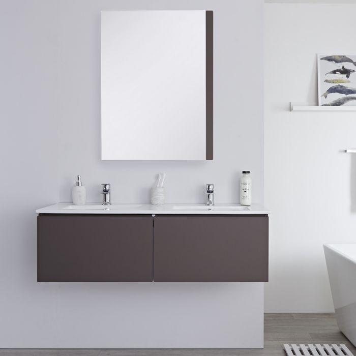 Mueble de Lavabo Mural Moderno de 1200mm Color Gris Opaco con Lavabo Doble Integrado para Baño Disponible con Opción LED- Newington