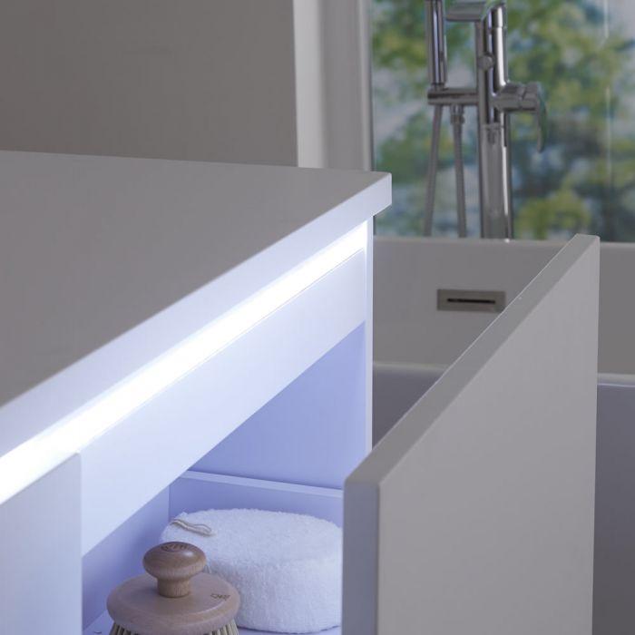 Mueble de Lavabo Mural Moderno de 1200mm Color Blanco Opaco con Lavabo de Sobre Encimera Cuadrado Disponible con Opción LED- Newington