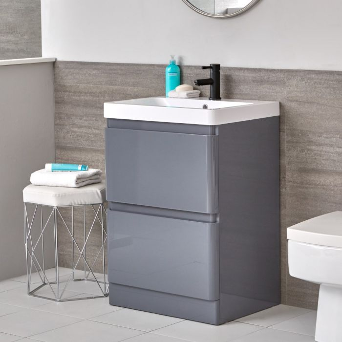 Mueble de Lavabo Moderno con Montaje a Suelo Gris de 600mm Completo con Lavabo - Daxon
