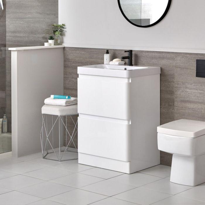 Mueble de Lavabo Moderno con Montaje a Suelo Blanco de 600mm Completo con Lavabo - Daxon