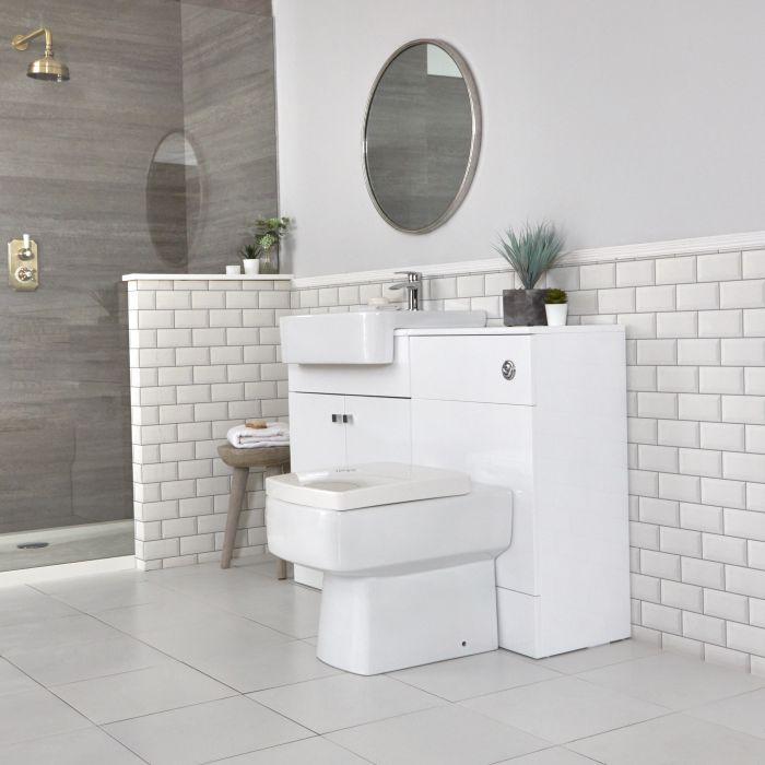 Mueble de Baño Moderno con Montaje a Suelo Blanco de 1170mm Completo con Lavabo, WC y Cisterna - Atticus