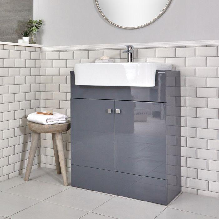 Mueble de Lavabo Moderno con Montaje a Suelo Gris de 670mm Completo con Lavabo - Atticus
