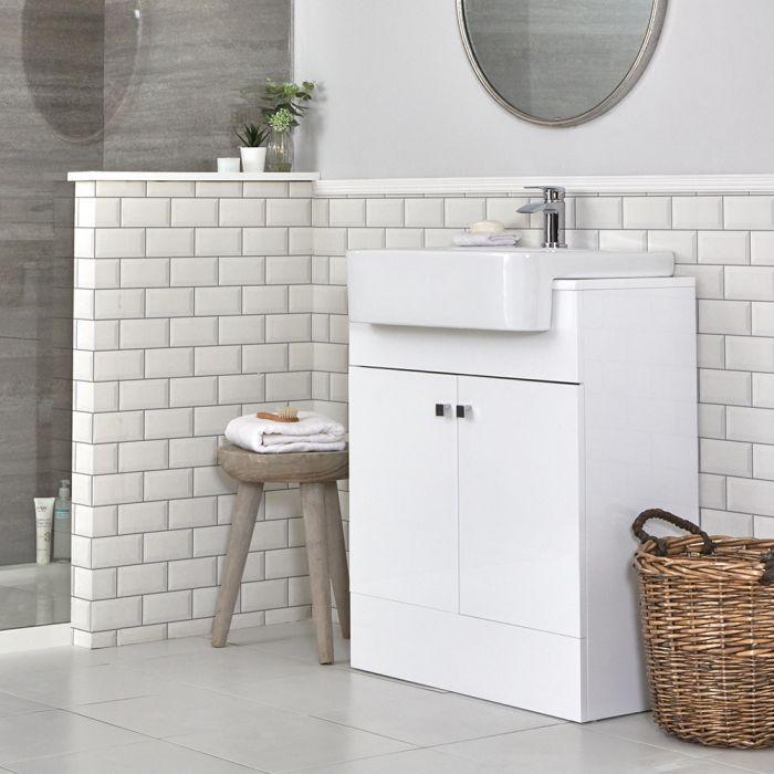 Mueble de Lavabo Moderno con Montaje a Suelo Blanco de 670mm Completo con Lavabo - Atticus