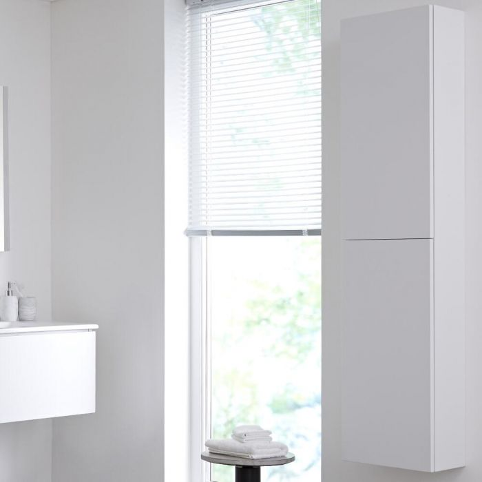 Armario de Pared de 350x1500mm para Cuarto de Baño Color Blanco Opaco - Newington