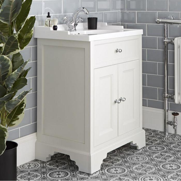 Mueble de Lavabo Tradicional Color Blanco Antiguo de 630mm Completo con Lavabo - Thornton