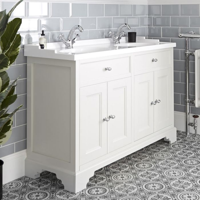 Mueble de Lavabo Tradicional Color Blanco Antiguo de 1200mm Completo con Lavabo Doble - Thornton