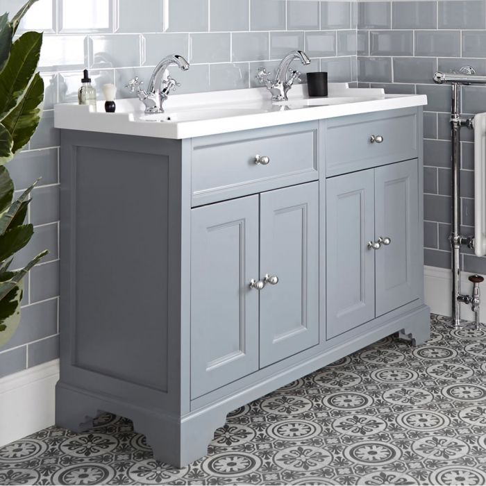 Mueble de Lavabo Tradicional Color Gris Claro de 1200mm Completo con Lavabo Doble - Thornton