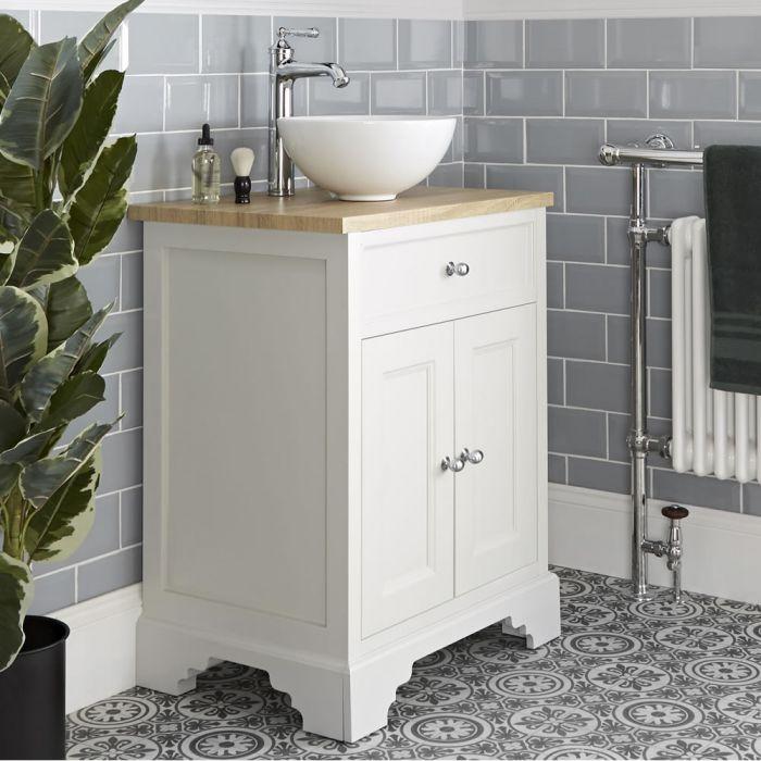 Mueble de Lavabo Tradicional Color Blanco Antiguo de 645mm Completo con Lavabo Sobre Encimera - Thornton